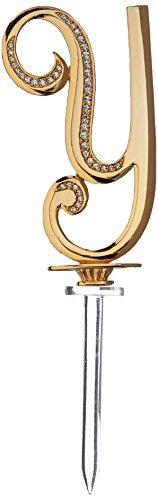 Ivy Lane Design Monogramm Crystal Kuchen Top Buchstabe Necklaces Halskette 11,4 Buchstabe Y 4.5-Inch gold
