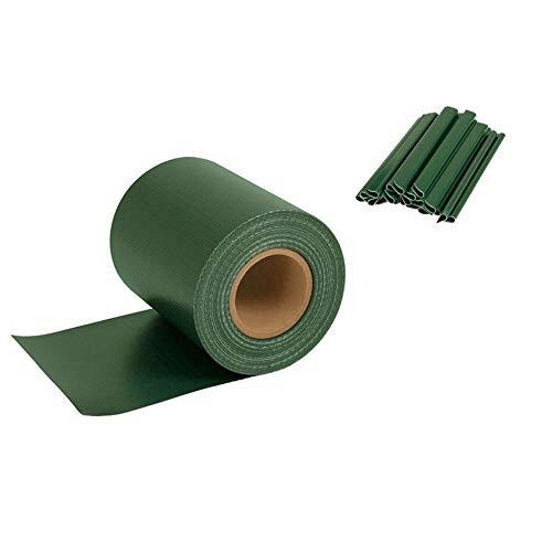 Orolay UV-beständig PVC Sichtschutzstreifen Zaunfolie 19 cm x 35 m extra dick Blickdicht mit 20 x Befestigungsclips hellgrau Grün
