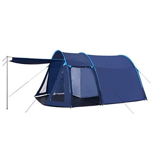 vidaXL Campingzelt Tunnelzelt Familienzelt Gruppenzelt Buszelt Bus Vorzelt Busvorzelt Camping Zelt Strand 390x330x195 cm Blau Schlafkabine