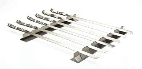 Stainless Steel BBQ Kebab Rack with 6 x skewer set in Nylon Pouch. Length 45cm Width 1cm Thick 1.5mm. For all your barbecue