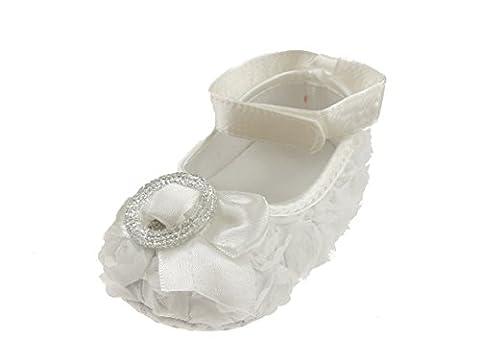 Bébé fille chaussures Pre Walker Fleur antidérapant aspect satin Nœud Et Strass Boucle en 3couleurs - Blanc - petit