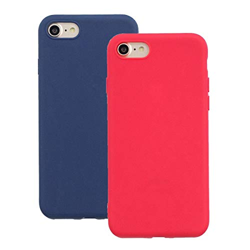 Misstars Silikon Hülle für iPhone 6S, Soft Flex TPU Case im Candy Design Ultra Dünn Matt Weich Handyhülle Anti-Stoß Kratzfeste Schutzhülle für Apple iPhone 6 / 6S (4,7 Zoll), Rot + Dunkelblau