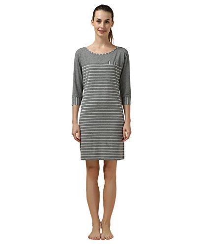 Suntasty Damen Nachthemd gestreifter Nachtkleid - kurz Sleepshirt Baumwolle 3/4-Ärmel Negligee Schlafkleid Nachtwäsche(Weiß,L,1048W)