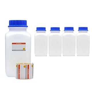 5x 2500 ml Weithalsflaschen mit Schraubverschluß, Chemiekalienflaschen, Laborflaschen mit Deckel als Aufbewahrungsbehälter für Labor, Küche oder Hobby