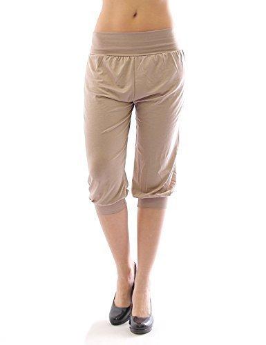 Beige Capri-hose (Harem Harems Aladin Pump Hose Capri 3/4 hoher Bund Leggings Leggins Baggy Sommer beige S)
