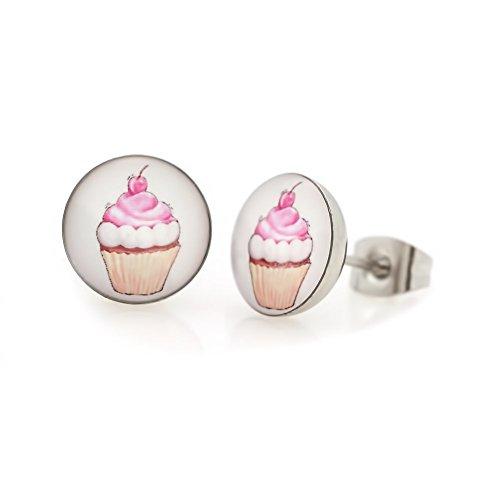 Ohrringe Ohrstecker Modeschmuck Cupcake Muffin {Modell Rosa}