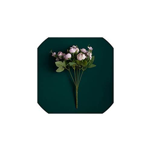 l Star-Artificial Flowers Künstliche Blumen-Fälschungs-Silk Rosen für die Hochzeit Startseite Kleine künstlichen Rosen-Bouquet Faux-Blumen-Fertigkeit-Partei-Dekoration-Dekor, Lila - Flower Bouquet Silk Lila