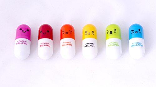 6x Mini Retractable Pill Ball Point Pen micro Tiny cute novelty capsule Ballpen telescopico
