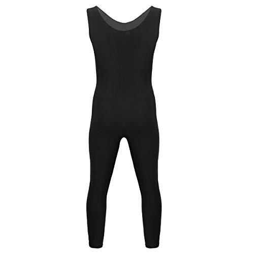 dPois Herren Gymnastikanzug Bodysuit Ärmellos Slim Fit mit U-Ausschnitt Tanzanzug Sportliche Overall Unterhemd für Tanz Fitness Turnen Training Schwarz L