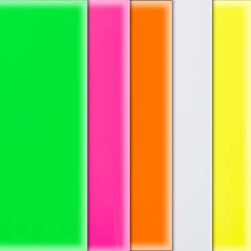 Transferfolie Vinyl Wärmeübertragung Papier Neon Fluoreszierend Mehrfarbig/T Shirt Heat Transfer/5 Blätt/Transferpresse Vinylfolie, Textilfolie, Transferpapier/Silhouette Cameo/25,6 X 24,4 cm/Mod.5PU1