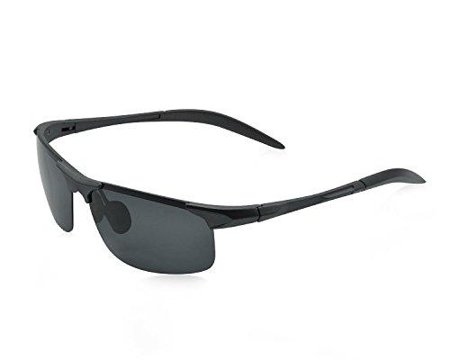 Yidarton Herren Sportbrille Ultraleicht AL-MG Metallrahmen Polarisierte Sonnenbrille Fahrerbrille