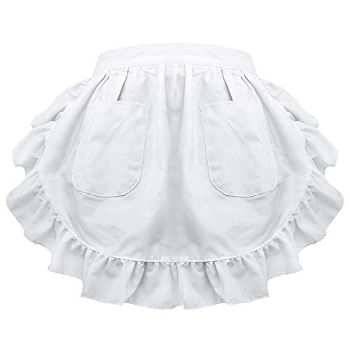 Viktorianischen Benutzerdefinierte Kostüm - aspire Taille Schürze Lace Halbe Schürze Baumwollküche mit Zwei Taschen Dienstmädchen Kostüm