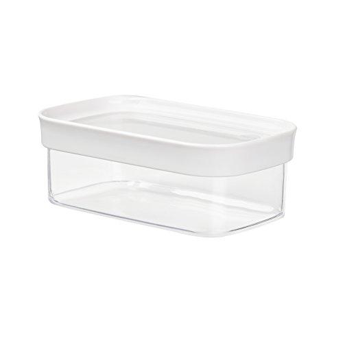 Storage-system (Emsa 513556 Stapelbare Vorratsdose für Trockenvorräte, 100 % Keimfrei, Volumen 0.45 Liter, Rechteckig, Weiß/Transparent, Optima)