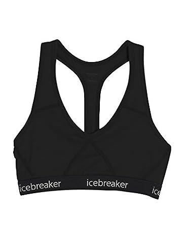 Icebreaker Wmns Sprite Racerback Bra Brassière de sport Femme Black/Black FR : M (Taille Fabricant : M)