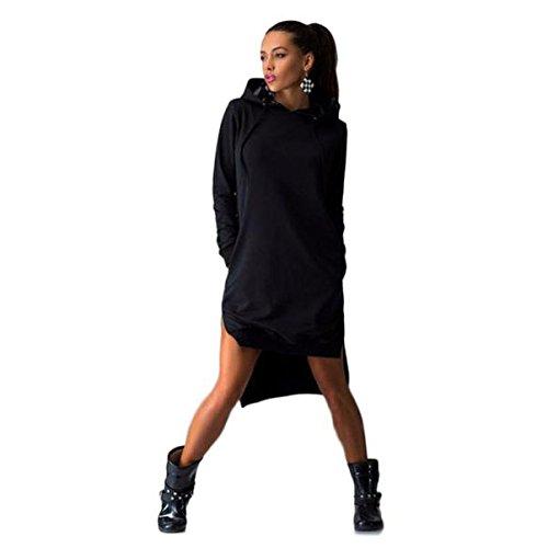 AMUSTER Nuove Donne Sweat Shirt Dress Tenere Caldo Doppio Split Hoodie Pullover Irregolare Gonna Maglia Tasche (XL, Nero)