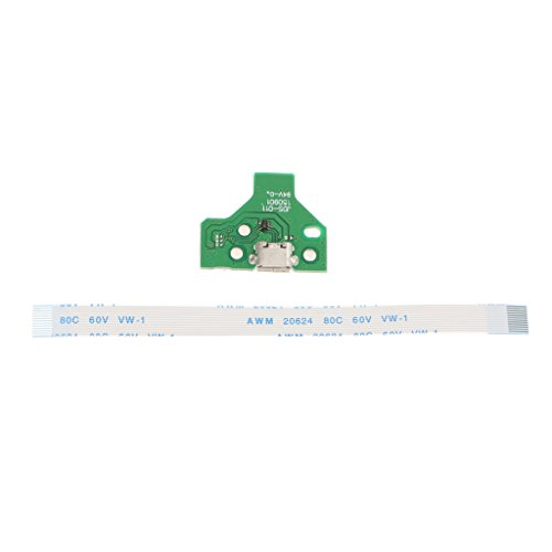 Ersatz Platine (Sharplace Ersatz USB-Anchluss Platine Board JDS-011 mit 12-Pin Flex Flachkabel für SONY PS4 DualShock Controller)