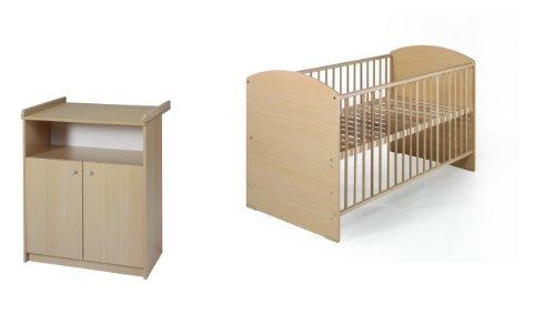 Schardt 08 968 03 01 - Schardt Sparset Classic-Line Buche bestehend aus Kombi-Kinderbett inklusiv Umbaukit und Wickelkommode