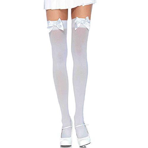 LEG AVENUE 6255Q - Durchsichtige Halterlose Strümpfe mit Schleife, Übergröße (EUR 42-46), weiß, Damen Karneval Kostüm Fasching