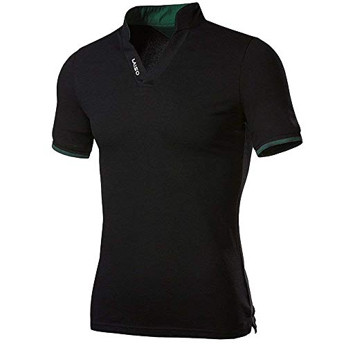 Mens Solid Polo Paul Shirt for Fashion Casual Bequeme Größen Turn Down Collar Slim Fit Cotton Polohemd Oberteile Basic Kleidung (Color : Schwarz, Size : 3XL)