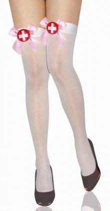 New Frauen Weiß Krankenschwester Sheer Hold Ups mit Pink Bögen Fancy Kleid Strumpfwaren Halloween Kostüm Hen Night Dessous Eine (Kostüm Ups Frauen)