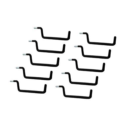 Gedotec Schraubhaken Wandhaken Werkzeug Gerätehalter Werkstatt & Garage für die Wand-Montage | Metallhaken gummiert | Länge 193 mm | 10 Stück - Montagehaken-Set zum einschrauben ins Holz