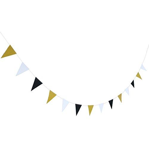 ande Wimpelketten Bunting Banner Dreieck Fahnenketten Deko - Schwarz Weiß Gold (Glitzer-girlande)