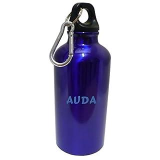 Personalisierte Wasserflasche mit Karabiner mit Text: Auda (Vorname/Zuname/Spitzname)