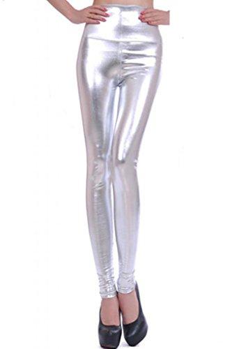 Lotus Instyle Damen Hoch Taille Kunstleder Leggings Silber