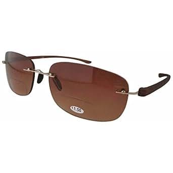 Eyekepper Rubber Painted Temple Rimless Bifocal Sunglasses