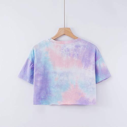 ljradj banxiu Sommer Nabelschnur gefärbt Farbe Rundhals Kurzarm T-Shirt weiblich 1 M -