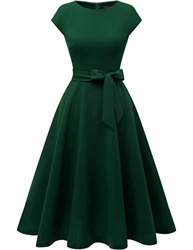 Dresstells Midi 1950er Vintage Retro Rockabilly Kleid Damen elegant Hochzeit Cocktailkleid DarkGreen 2XL