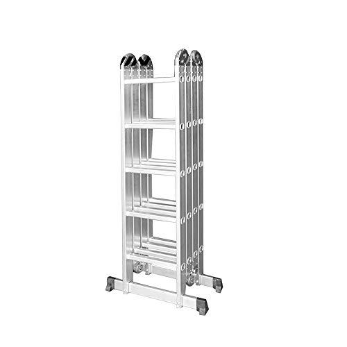 FROADP 550cm Aluminum Gerüst leiter Mehrzweckleiter Multifunktions Kombileiter Klappleiter Gerüst leiter mit 2 stück Plattform(550cm, 4X5 Stufen)