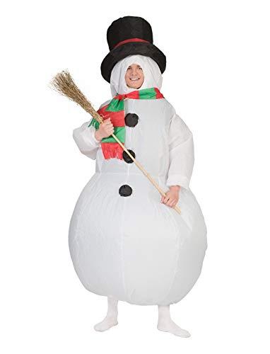 TrendClub100® Aufblasbares Schneemann Kostüm mit Ventilator (Schneemann)