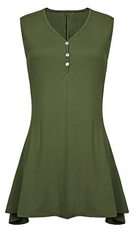 Women's Sleeveless Comfy Tunic Tank Top Swing Shirts (L, Army Green)