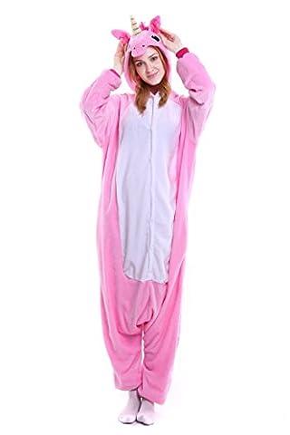 Tuopuda Kigurumi Einhorn Pyjamas Erwachsene Unisex Onesie Tier Cosplay Kostüm Halloween Jumpsuit Schlafanzug (M ( 158-167 cm height), (Rosa Einhorn-kostüm)