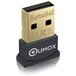 Qumox Adaptateur USB clé Bluetooth 4.0/Dongle Bluetooth, émetteur et récepteur pour Windows 10/8.1/8/7/Vista, Plug and Play Compatible avec Windows 7 et au-Dessus
