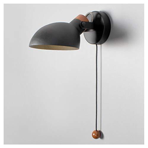 Fting Lanterne Murale à LED, Chambre à Coucher Nordique Étude de Chevet Salon Décoratif Applique Murale Salle à Manger Allée Réglable Applique E14 (Couleur : Noir)