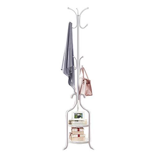 XUEZHEN Kleiderhaken Multifunktionale Schmiedeeisen Kleiderablage Boden, Hängen 2 in 1 for Mäntel, Taschen, Schuhe, Bücher, Topfpflanzen (Color : White)