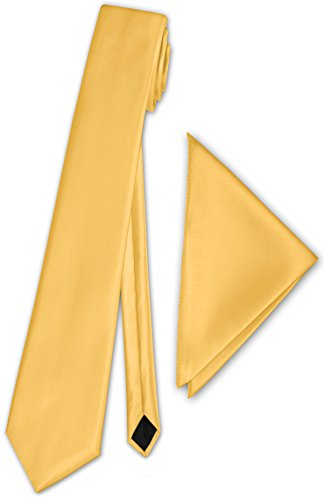 Herren Satinkrawatte mit Einstecktuch Anzug Krawatte Edel Satin 30 Farben NEU (Gelb)