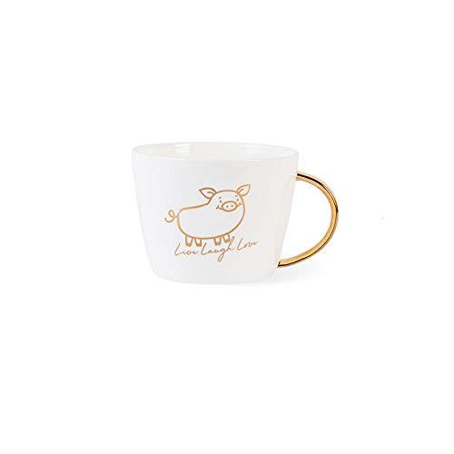 MIC-moonjack Geschenkbox Goldener Schweinebecher Porzellan Kaffeetasse Teetasse 450 Ml@EIN