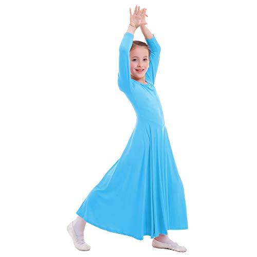 OBEEII Mädchen Tanzstrumpfhose Liturgisch Tanzkleid Lange Ärmel Jugendliche Elegant Worship Tanzkleidung Ballett Jazz Lateinischer Tanz Kirche Chor Beten Gebet Kostüm für Kinder Blau 3-4 Jahre