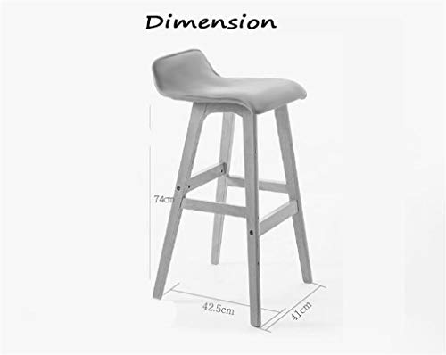 Dark Brown Counter (ZJL Lygdn Wooden Chair High Stool Breakfast Stool Barstool for Kitchen Home & Commercial Dark Brown,Sit Height 74cm)
