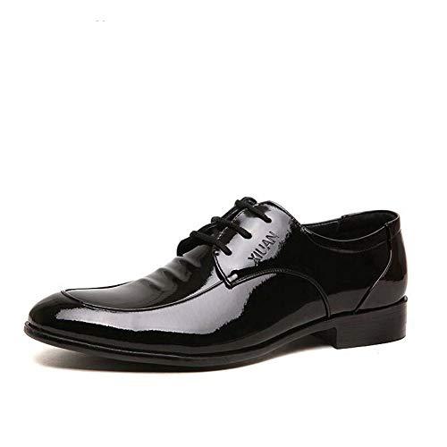 Herren Oxford Schuhe Kleid Flache Schnürschuhe mit niedrigem Absatz Leder Spitze schwarz Business Herren