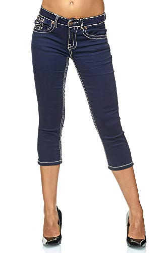 Elara Damen Capri Hose | Slim Fit Jeans | Dicke Naht | Chunkyrayan 99-7-Dk.Blue-44