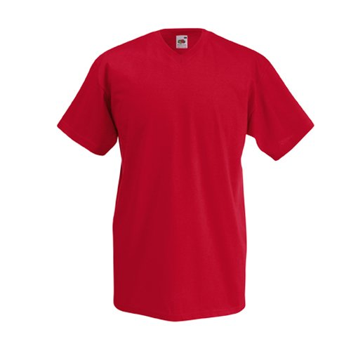 V-neck S/s T-shirt (Valueweight V-Neck T-Shirt von Fruit of the Loom S M L XL XXL verschiedene Farben XL,Rot)