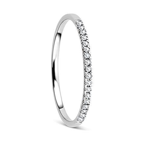 Orovi Damen Ring Weißgold 0.09 Ct Diamant Eternity/Ewigkeitsring 18 Karat (750) Gold und Diamanten Brillanten (Diamant Eternity Weißgold Ring)