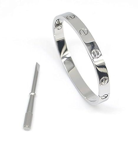 AMESON Stainless Steel Shine Love Screwdriver Bangel Bracelet (Silver in size 16)
