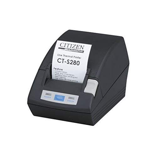 Black Thermal Power Supply (Citizen CT-S280, RS232, 203dpi, Black, CTS280RSEBK (incl.: Power Supply Unit, Order Separately: Interface Cable, Colour: Black))