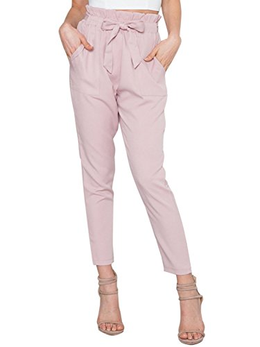 Simplee Apparel Damen Hosen Elegant High Waist Stretch Chiffon Skinny Hosen Pants Casual Streetwear Hosen mit Tunnelzug- Gr. 40 / XL, Rosa