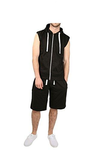 Mens Sleeveless Gym Sweatshirt Premium Gilet Fleece Hoodie Top Summer BLACK/4XL (SUIT)